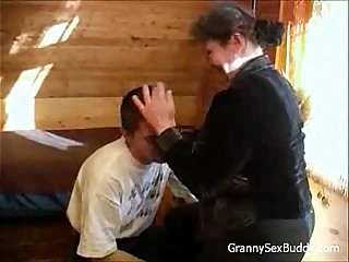 Young student fucks chubby granny