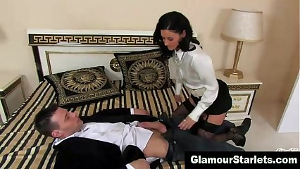 Clothed glamour slut sucks cock