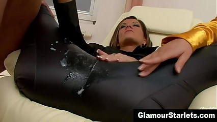 Posh dirty clothed slut gets a cumshot