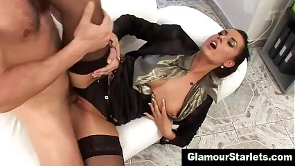 Bare titted sexy slut gets cumshot