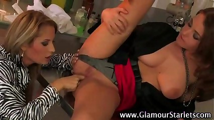 Clothed european lesbians love pussy