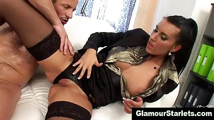 Stockings slut in satin gets a cumshot