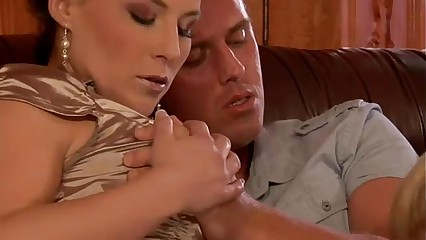 Clothed glamour euro threesome suck and fuck