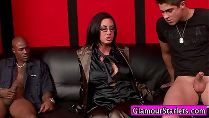 Clothed euro threesome spitroast