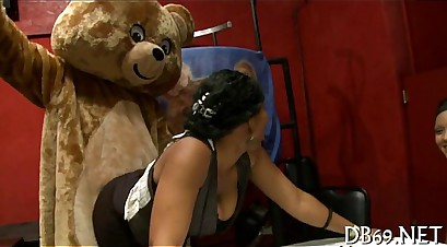 Dancing bear at office party