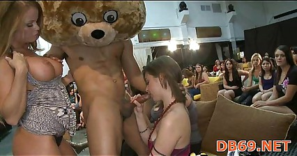Girls go crazy for the dancing bear crew