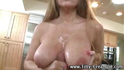 Big titted slut tit fuck cumshot