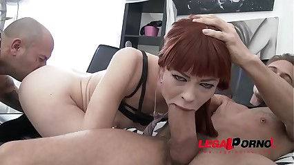 Redhead Alexa Nova -  Anal and Deepthroat Super Slut 1st time Gonzo 2on1