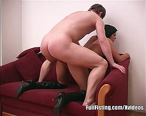 Leather Boots Doggystyle Couch Fuck With Teen