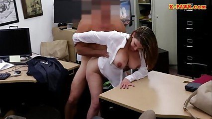 Foxy huge boobs business lady screwed up for money