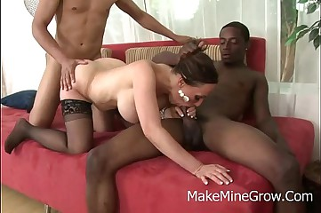 Hot Raquel Sieb rides a big black cock