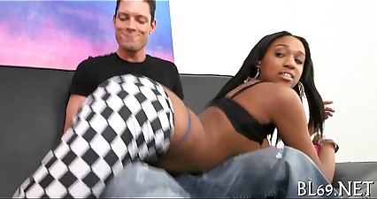 Nasty ebony gets her muff drilled