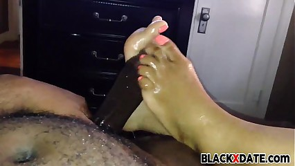 Ebony amateur footjob