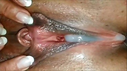 Ebony Pussy oozing with cum