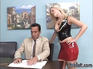 Mistress makes her slave cum on her feet