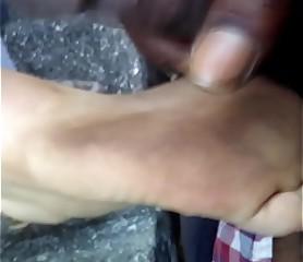 Cum on her feet again 3