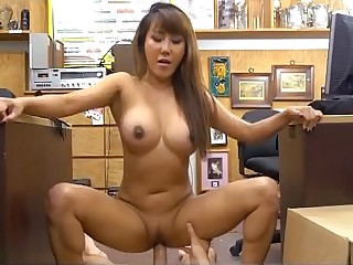 Asian With Fake Cans Brittany Rain Riding Dick In Pawn Shop