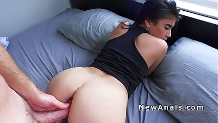 Busty Petite Latina anal bangs big cock for the first time