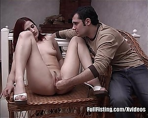 Self Pussy Fisting From A Redhead Russian Teen
