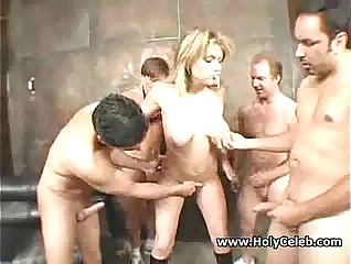 Hot Blonde Gangbang sex
