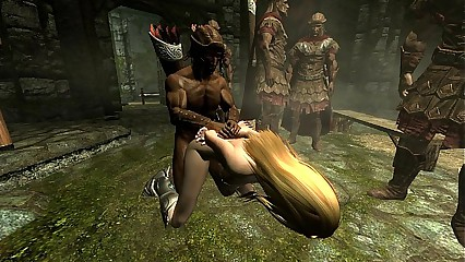 Skyrim - Imperial soldiers gangbang a sexy Nord - part2