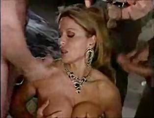 Italian Blonde Milf Gangbang