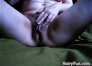 Hairy Chick Fingering Her Loose Pussy