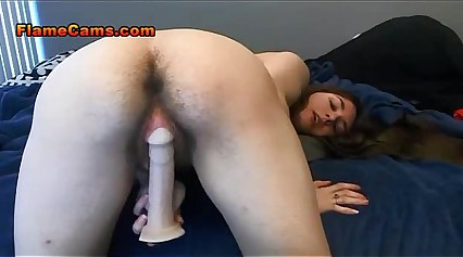 Hairy Teen Pussy Takes Long Didlo
