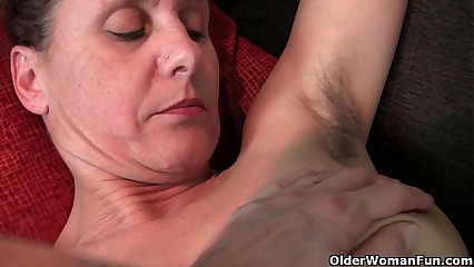 Hairy granny with hard nipples
