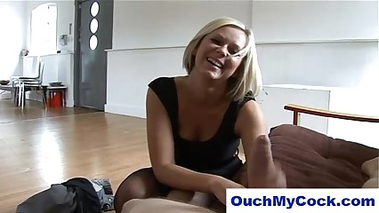 laughing blonde gives cuckold boyfriend a harsh handjob