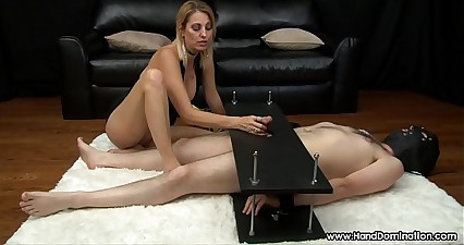 Mean MILF gives brutal femdom handjob to cock in bondage