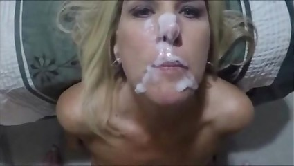 Blonde Mom Handjob and Facial