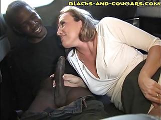 Interracial Cougar Sucking