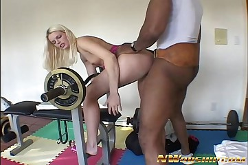 skinny small tits blonde having interracial anal fuck