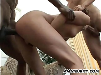 Amateur interracial anal foursome with facials
