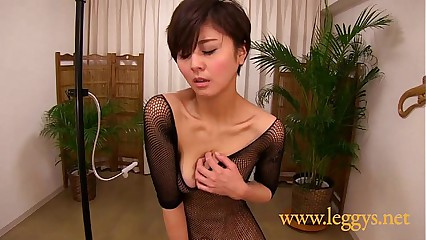 Leggys Dream 4 Japanese girl Miho in black fishnet stockings