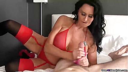 ov40-Brunette pornstar pov handjob