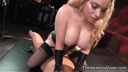 Busty blonde whore goes crazy jerking