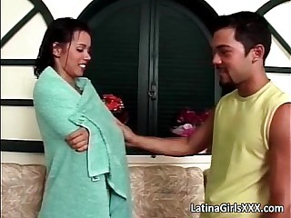 Amazing brunette latina whore blows hard