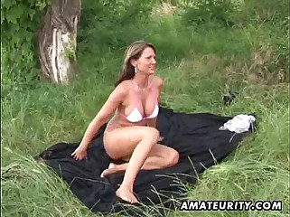 3 busty amateur lesbian toying and licking outdoor
