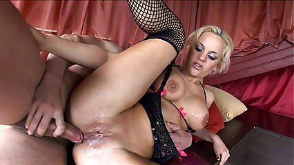 Busty Britney fucked in stockings and high heels