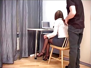 Secretary office sex in sheer crotchless hosiery
