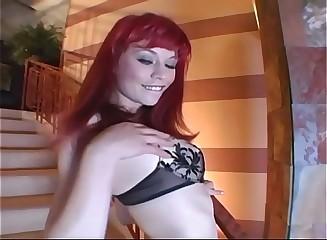Petite redhead masturbates in crotchless hose