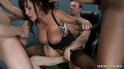 Crazy hot MILF Lisa Ann gets gang banged by three horny studs in the prison - Porn Movies - 3 Movs