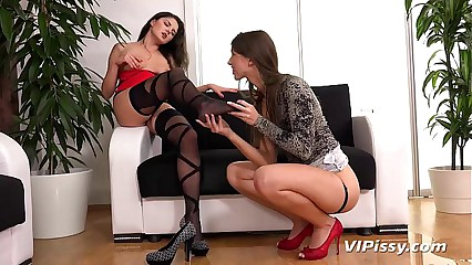 Kinky lesbians pissing on each other and enjoying anal fingering