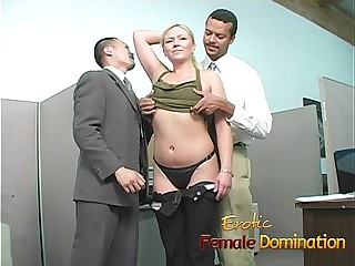 Slutty blonde takes a cumshot at her first day at work-6