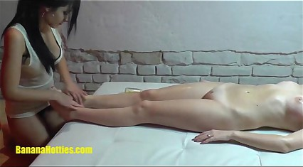 Lesbian oil massage by two 19yo czech amateur hotties