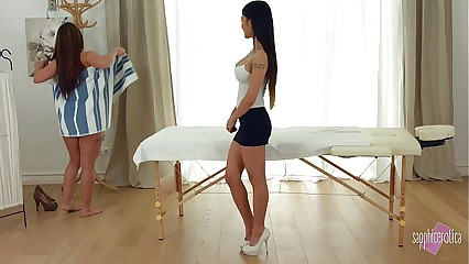 Sapphicerotica massage results in lesbian sex session