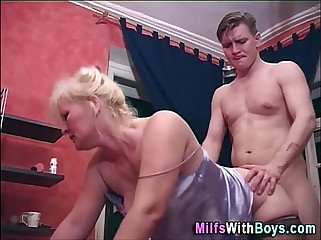 Old Blonde Mature Doggystyle Fucked
