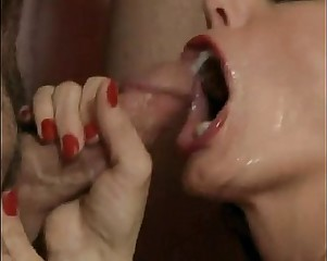 Mature blows 10 guys for facials